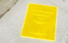 Alexander McQueen menswear SS15 show invitation - neon yellow Perspex