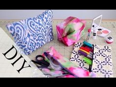 ▶ DIY Pencil Case & Makeup Bag {Back To School How to} No Sew & Sew - YouTube