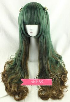 Harajuku Lolita Wig Green Mix Brown Full Long Hair Curls Cosplay Gradient #H5-3 #NEW #FullWig