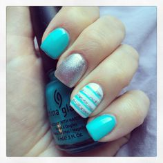 Tiffany blue with silver and decorative accents