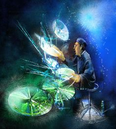 The Drummer 01 Painting  - The Drummer 01 Fine Art Print