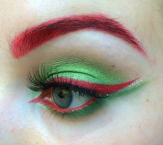 green and red Poison Ivy makeup