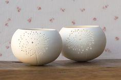 Ceramic candle holder dandelion design. porcelain tea light