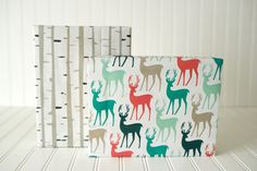 Gift wrap pattern - Birch trunks  and colorful stags.Professional surface designer Nadia Hassan created this collection.