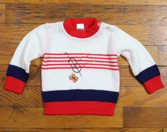 Vintage Baby Sweater Red White Navy Blue Musical Instrument
