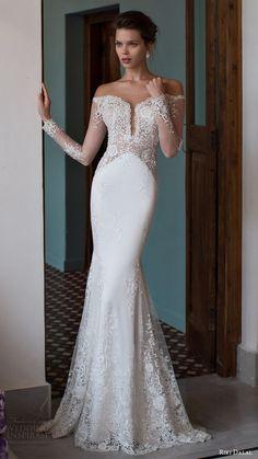 RIKI DALAL bridal 2016 illusion long sleeves off shoulder pluging sweetheart lace sheath wedding dress / http://www.deerpearlflowers.com/deep-plunging-v-neck-wedding-dresses/