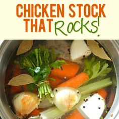 Chicken Stock That Rocks! Seriously this recipe is worth making.and it's easy too! I used a stock pack from our local farmer's market that was mostly chicken necks. Canning Recipes, Soup Recipes, Chicken Recipes, Dinner Recipes, Healthy Recipes, Chicken Meals, Recipe Chicken, Homemade Chicken Stock, Soup And Sandwich