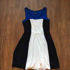 Express color block dress size 8 Color: black, blue and white Size: 8  Condition: excellent, worn once  Details: fully lined, side zipper. Very flattering pattern and A line fit Express Dresses Midi