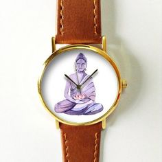 Buddha and Lotus Watch  Vintage Style Leather Watch by FreeForme
