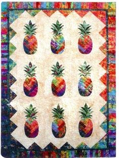 Gorgeous border colors!Pineapple batiks quilt