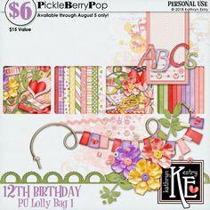 Lolly Bag 1 - PU {by Kathryn Estry} 12th Birthday, Birthday Celebration, Happy Birthday, Lolly Bags, Digital Scrapbooking, Crafty, Happy Brithday, Urari La Multi Ani, Happy Birthday Funny