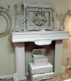 DIY: Faux Fireplace made from 2 ornate bed rails and scrap wood - and it all comes together with a coat of paint! Bedroom Fireplace, Fireplace Mantels, Fireplaces, Mantles, Furniture Makeover, Home Furniture, Vintage Farmhouse, Stores, Decoration