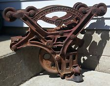 Lg Vintage Antique Cast Iron Ney Hay Trolley Carrier Unloader Barn Farm Pulley Block And Tackle, Rustic Barn, Pulley, Cannon, Vintage, Cool Stuff, Industrial, Motivation, Ebay