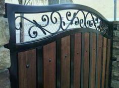 wrought iron with original wood fence Metal Garden Gates, Metal Gates, Wooden Gates, Wrought Iron Gates, Front Gates, Entrance Gates, Iron Work, Fence Design, Backyard