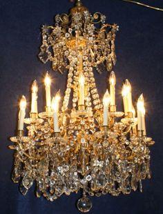 French gilt bronze & crystal Baccarat chandelier