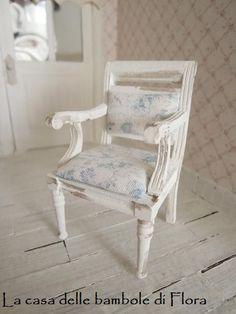 French chair 1/12 dolls house dollhouse by FloraDollhouse on Etsy