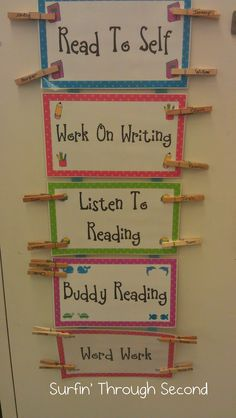 Daily 5 Update Early Finisher - Give them free choices that enhance learning. They place their name clip on activity they choose, helps with monitoring students. Kindergarten Reading, Reading Activities, Teaching Reading, Work Activities, Guided Reading, Partner Reading, Early Finishers Activities, Reading Centers, Reading Workshop
