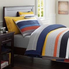 MVP Stripe Quilt + Sham | PBteen -  Idea for Smaller Kids' bedroom bed linens for top and bottom bunks