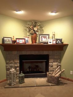 Riches to Rags  by Dori  Fireplace Mantel Decorating Ideas    home     How I decorated my deep corner fireplace