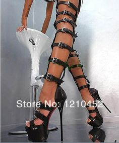 Sexy 6 inch High heel sandals for women's shoes white peep toe patent leather knee-high boots fine belt thick platform size 4-12 US $103.00