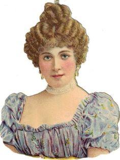 Victorian Die Cut Scrap Lovely Lady in Blue w Rosy Cheeks c1880