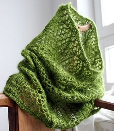 Love the lacy pattern for this cowl...Ravelry: loggia pattern by Åsa Tricosa