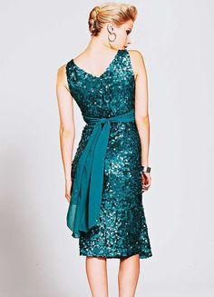 Teal Sequin Mid Length Dress