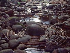 NPR Fresh Air--Andy Goldsworthy (Curved sticks surround a river boulder in Woody Creek, Colo. Sept. 16, 2006)