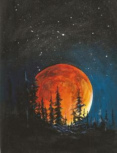 painting acrylic easy canvas simple beginners moon quotes paintings night sky landscape light picstagram site