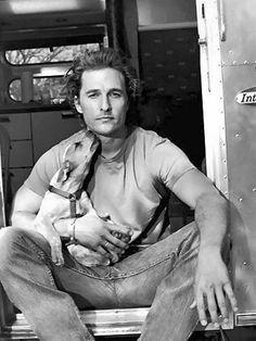 Matthew McConaughey and his dog Foxy.(He's pretty foxy himself)~♛