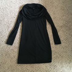 Cowl Neck Black Dress Sweatshirt material, very soft and cozy. Worn once, just selling to make room in my closet. Cute cowl neck dresses up the more casual material. Paisley Sky  Dresses Long Sleeve