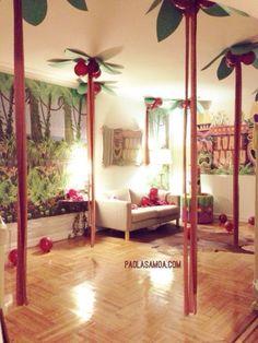 Luau Party Decor, hanging palm trees | FOODIEZ-eatzFOODIEZ-eatz