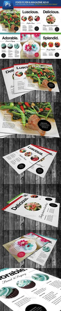 Flyer & Magazine Ad / Cover Pack 01 #GraphicRiver Professional, clean and stylish, this collection of six different flyers can be used to promote food, drink, or absolutely anything you wish! Some of the designs and layouts also double-up as magazine adverts and magazine covers. All text, images and colors can all be easily edited inside Photoshop. Photos are NOT included, but the instructions contain a link to where the images can be purchased for a very cheap amount.