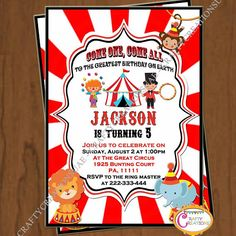 Circus Birthday Invitation Carnival Birthday Invitation  I Own A