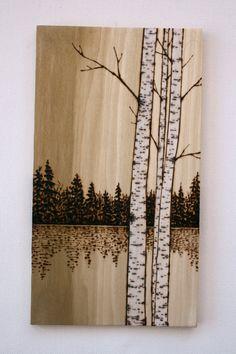 Birch Trees Art on Wood Wood burning by TwigsandBlossoms on Etsy