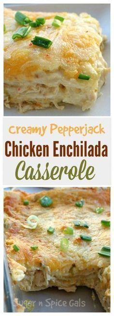These creamy pepper jack chicken enchiladas are to die for. So cheesy and so creamy. ] INGREDIENTS 4 chicken breasts, … These creamy pepper jack chicken enchiladas are to die for. So cheesy and so creamy. Freezer Meals, Easy Meals, Potluck Meals, Potluck Dishes, Freezer Recipes, Kraft Recipes, Freezer Cooking, Good Food, Yummy Food