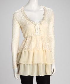 Take a look at this BEAUTIFUL White Lace Ruffle Tunic by Lily on #zulily today! $29.99!