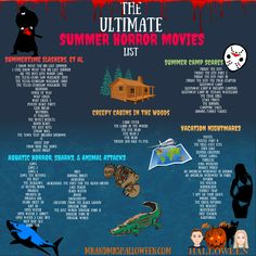 movie list Summer is here! Beat the heat, and dive into the ultimate list of summer horror movies! Summertime Slashers, Creepy Cabins, Vacation Nightmares, and Sharks! Scary Movie List, Netflix Movie List, Halloween Movies List, Halloween Movie Night, Halloween Horror Movies, Movie To Watch List, Classic Halloween Movies, Creepy Movies, Cabin Horror Movies