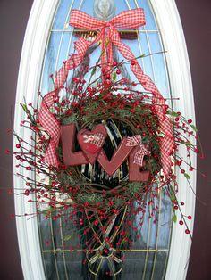 Valentine's Day Grapevine Door Wreath by AnExtraordinaryGift, $70.00