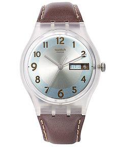 Swatch Watch, Unisex Swiss Blue Conker Brown Leather Strap 34mm GE704 - Women's Watches - Jewelry & Watches - Macy's