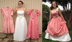 34 Wedding Dress & Bridesmaids Dresses Refashion this is one of the dresses where she did a cinderella's handmade dress cosplay.