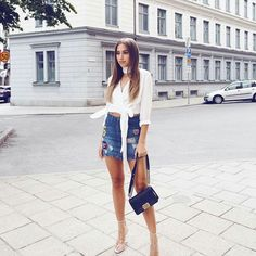 Denim skirt + wrap top