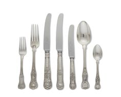 AN ENGLISH AND IRISH VICTORIAN ASSEMBLED STERLING SILVER FLATWARE SERVICE MARKS OF VARIOUS MAKERS AND DATES, PRIMARILY MID-19TH CENTURY In 'Queens' pattern, each fiddle thread handle cast with shells at intervals Forks And Spoons, Sterling Silver Flatware, Dates, 19th Century, Silver Plate, Irish, Shells, Lee Radziwill, Victorian