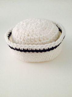SALE Crochet Newborn Sailor Hat Newborn Photo Prop Crochet Baby Hat Made To Order by ComfyCrochetBoutique on Etsy