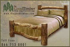 Aspen Log Corral Bed Only $249 Ships Free Fast Rustic Cabin Beds Furniture | eBay