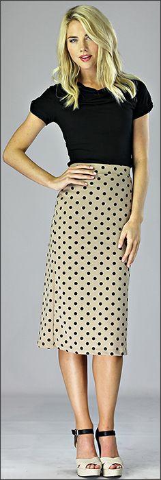 Stylish yet Modest Pencil Skirts Tan Polka Dot Skirt www.sierrabrooke.com