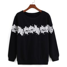 With Bead Floral Applique Black Sweatshirt ($15) ❤ liked on Polyvore featuring tops, hoodies, sweatshirts, black, floral sweatshirt, sweater pullover, floral print sweatshirt, black sweatshirt and pullover sweatshirts