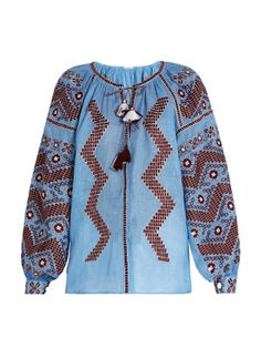Mina embroidered linen blouse | Vita Kin | MATCHESFASHION.COM US