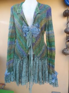 vintage inspired mermaid hued knit jacket with lace by wildskin