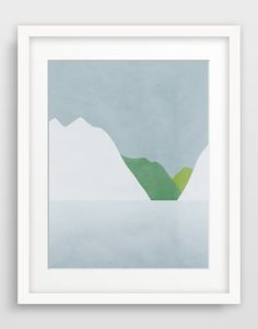 Winter Abstract Landscape Mountain Art Print Large Wall by evesand